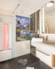 Bad mit Dusche und Infrarot im Familienzimmer